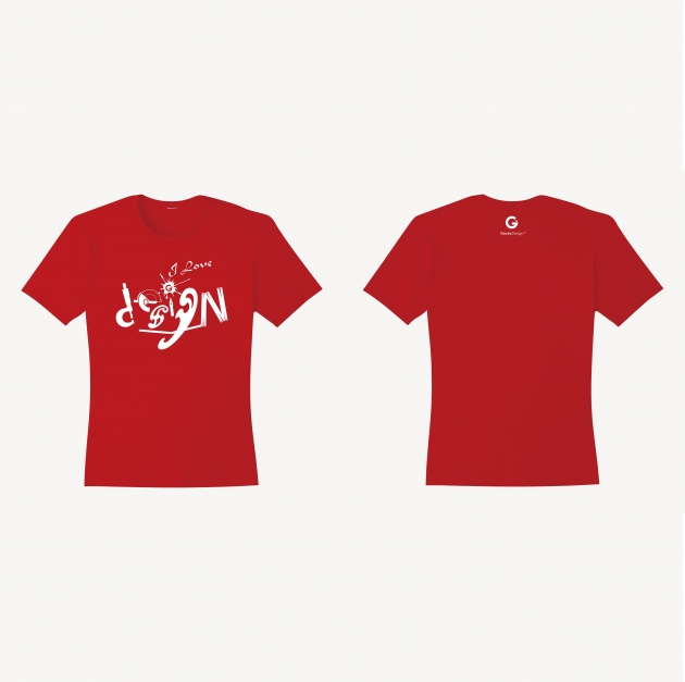 I Love Design T-shirt (Women) - Red/White/Navy Blue 1