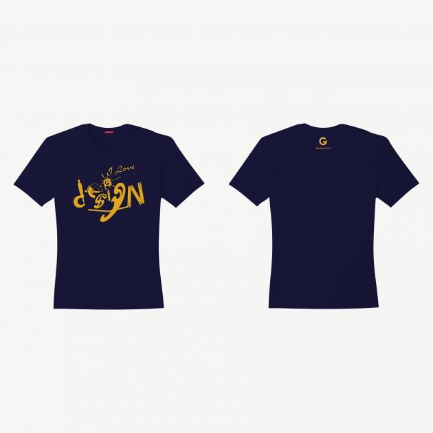 I Love Design T-shirt (Women) - Red/White/Navy Blue 3