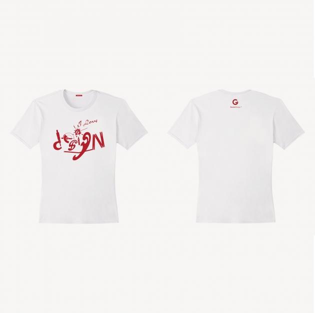 I Love Design T-shirt (Women) - Red/White/Navy Blue 2