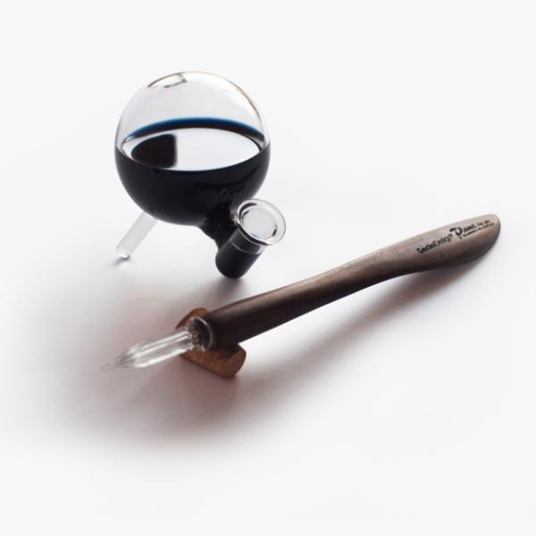 GeckoDesign 羽翼蘸水筆 x 默契墨水瓶(圓) 手工製文具組 1