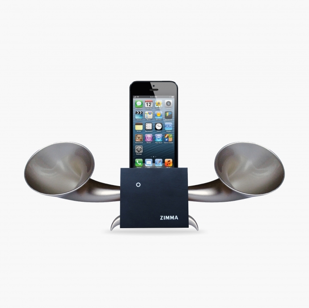 ZIMMA Horn Stand Speaker Black+Silver   For iPhone SE/5S/4S(NO FOR iPhone 6~X & Android used) 1