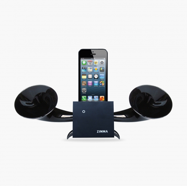 ZIMMA Horn Stand Speaker Black+Black   For iPhone SE/5S/4S(NO FOR iPhone 6~X & Android used) 1