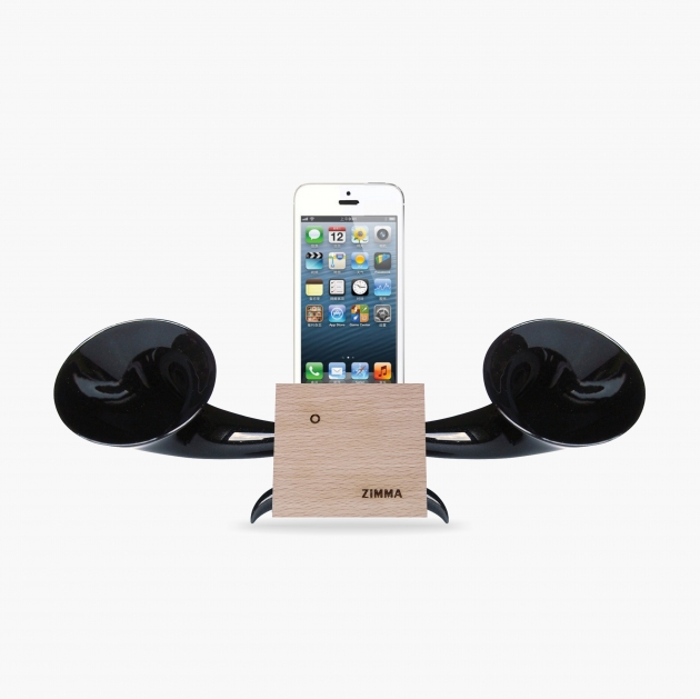 ZIMMA Horn Stand Speaker Wood+Black  For iPhone SE/5S/4S(NO FOR iPhone 6~X & Android used) 1