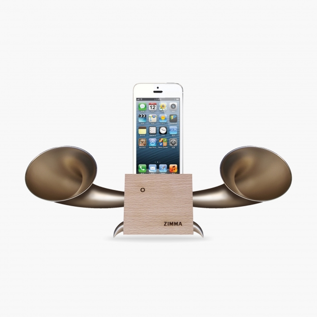 ZIMMA Desk Speaker Stander Wood+Gold   For iPhone SE/5S/4S(NO FOR iPhone 6~X & Android used) 1