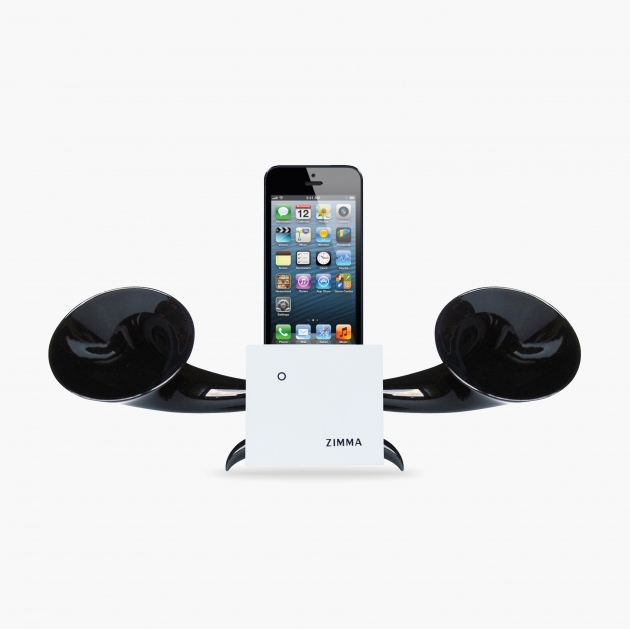 ZIMMA Horn Stand Speaker White+Black   For iPhone SE/5S/4S(NO FOR iPhone 6~X & Android used) 1