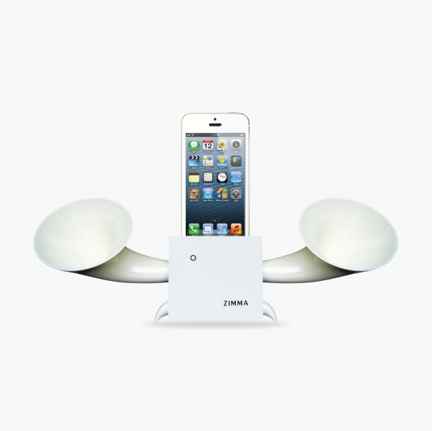 ZIMMA Desk Speaker Stander White+White   For iPhone SE/5S/4S(NO FOR iPhone 6~X & Android used) 1