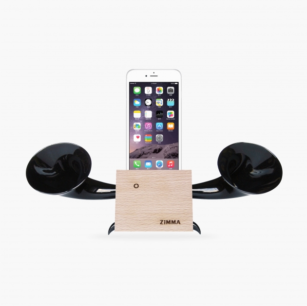 ZIMMA Desk Speaker Stander Wood+Black For iPhone & Android 1